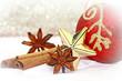 rote Christbaumkugel mit Zimtstangen