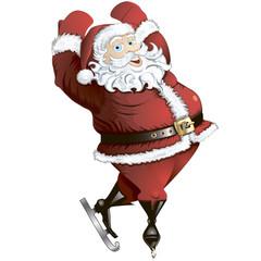 Skating Santa in pose isolated