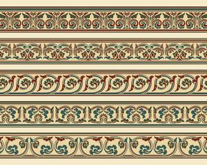 Set of five decorative borders in editable vector file
