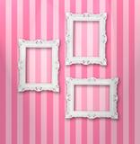 Fototapety Set of white ornamental frames on a stripy wallpaper