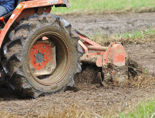 Tractor with cultivator prepares field for seeding.