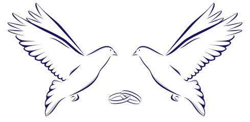 Zwei Tauben mit zwei Ringen Hochzeit Heiraten Feier