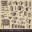 vector set: kitchen and cooking - vintage design elements