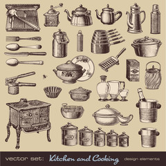 vector set: kitchen and cooking - vintage design elements