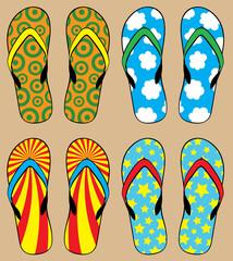 set of colorful flip flops, vector