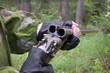 Hunter examines the old gun