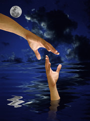 Hand help other who drowned in the water