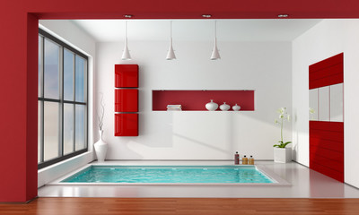 Red and white luxury bathroom