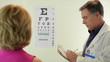 Optometrist having his patient read eye chart