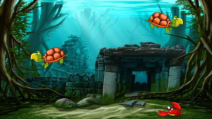 Ancient town ruins with animated sea animals.