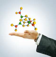 Molecule isolated on businessman hand