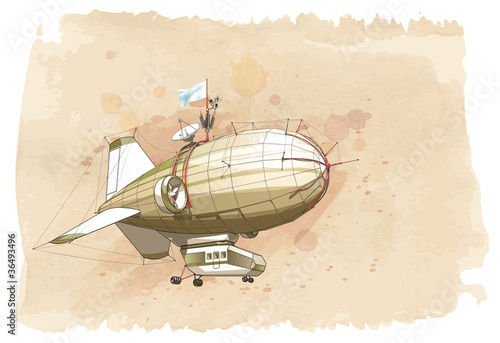 Dirigible balloon & watercolor vintage background