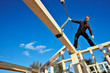 carpenters setting up prefabricated framework
