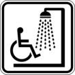 Dusche für Rollstuhlfahrer Behinderte Schild Zeichen Symbol