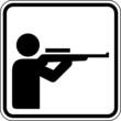 Schießstand Jagdbetrieb Schütze Schild Zeichen Symbol