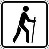 Wandern Nordic Walking Laufen Schild Zeichen Symbol