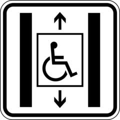 Aufzug für Behinderte Rollstuhlfahrer Schild Zeichen Symbol