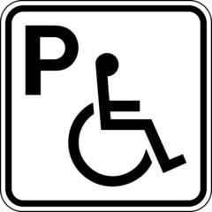 Behindertenparkplatz Rollstuhlfahrer Schild Zeichen Symbol