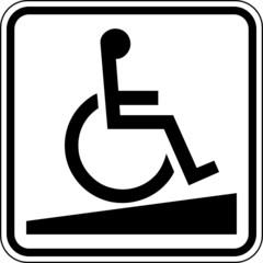 Rollstuhlrampe Barrierefreiheit Schild Zeichen Symbol