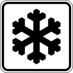 Frost Glätte Eiskristall Schnee Schild Zeichen Symbol