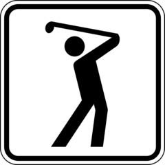 Golf spielen Golfplatz Schild Zeichen Symbol Grafik