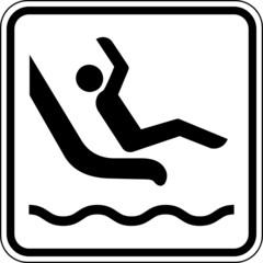 Wasserrutsche Schwimmbad Schild Zeichen Symbol