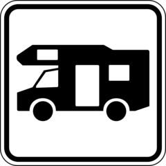 Wohnmobil Reisemobil Camping Schild Zeichen Symbol