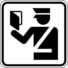 Zoll Grenze Passkontrolle Schild Zeichen Symbol