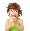 little curly girl with ice cream in studio isolated - 36495215