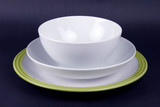 Set of crockery with bowl  and plate on black background poster