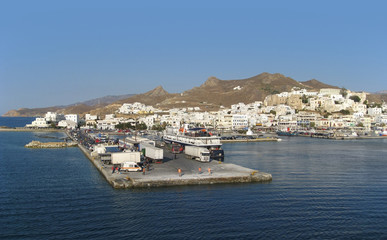city of Naxos in Greece at evening time
