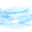 Merry Christmas background. Abstract light blue waves with snowf