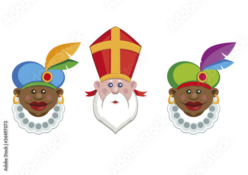 Portraits of Sinterklaas and his colorful helpers isolated