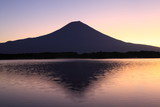 Mt. Fuji over Lake Tanuki at dawn