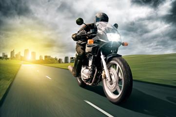 Motorbike and City