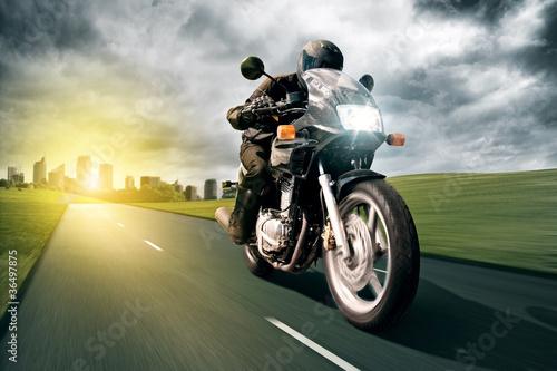 Motorbike and City - 36497875