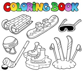 Coloring book winter sports gear