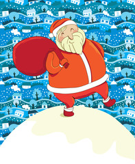 santa claus and winter lanscape