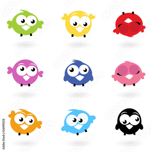 Poster Vogels, bijen Cute color vector Twitter Birds icons collection isolated on whi