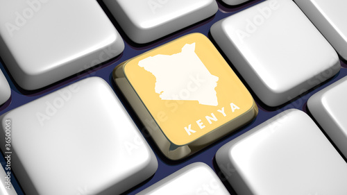 Keyboard (detail) with Kenya map key