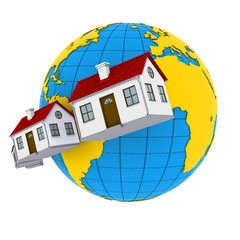Worldwide Properties. 3d rendering on white background