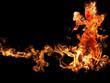 woman of fire dance on black