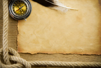 parchment paper and feather