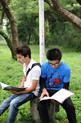 Two Indian guys studying before exams in a college campus.