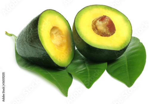 Fresh tropical avacado fruit with leaves