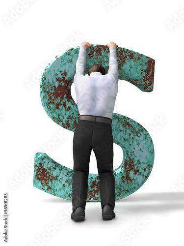 man holding a rusty dollar sign