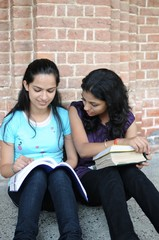 College girls doing combined study in the campus.