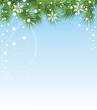 Christmas illustration with fir and snowflakes