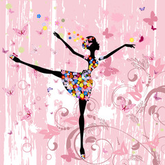 ballerina girl with flowers with butterflies grunge
