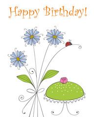 Birthday greeting card with birthday cake